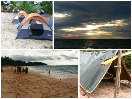 the tent quarters, the beach and the sunset
